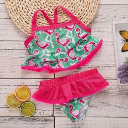 Girls swimminG shorts tops online shopping - 2018 New Baby Girls Swimwear psc Sets Cartoon Flamingo Printed Tops Briefs Short Bathing Swimming Suits