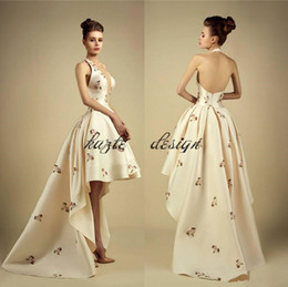 588319517ef 2017 New Georges Hobeika High Low Ivory Prom Dresses Halter Appliques  Ruffles Bottom Evening Party Gown Satin Backless Long Train Prom Gown