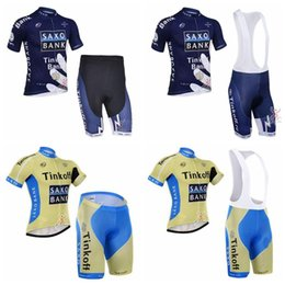 Discount jersey cycling saxo green - SAXO BANK TINKOFF team Cycling Short Sleeves jersey (bib) shorts sets Lycra summer MTB Clothes Bike Wear Comfortable F01