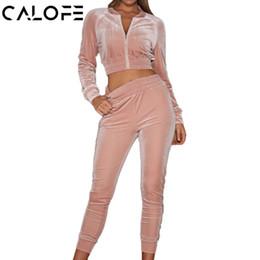 $enCountryForm.capitalKeyWord Canada - CALOFE Autumn Velvet Sport Suit women's Running Sets Two Piece Gym Sportswear Jogging Suits Long Sleeve Jackets Joggers Pants