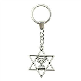 Wholesale 6 Pieces Key Chain Women Key Rings For Car Keychains With Charms Judaism Menorah Star Of David x32mm