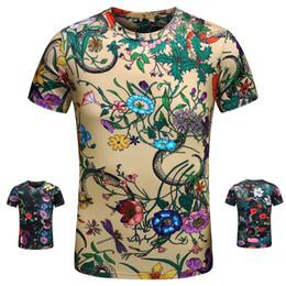 $enCountryForm.capitalKeyWord Canada - 2018 Brand t shirts European Mens Summer Cotton T-shirts Flower Snake Digital Printing Tee Tops Short Sleeve Designer Casual tshirt Bloues
