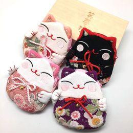 $enCountryForm.capitalKeyWord NZ - Japanese Style Lucky Cat Coin Purses Zero Wallet Money Bag Japanese Kimono Fabric Party Favor Gifts QW7388