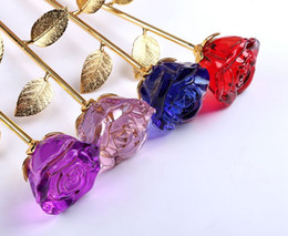 Crystals Souvenir Australia - Luxury Crystal Rose Valentines Gift Noble 5 Color Long Stem Flower for Decoration Romantic Wedding Gift Party Supplies HOT