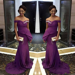 Discount fashion girl model dress - Elegant Purple Mermaid Dresses Evening Wear 2018 Off Shoulder African Black Girls Formal Prom Party Gowns Cheap