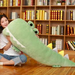 Crocodiles Alligator Toys Australia - cuddly soft cartoon crocodile stuffed toy animals alligator sleeping long pillow plush doll for children girl gift 55inch 140cm DY50454
