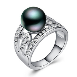 gemstone bands UK - Luxury Women Pearl Gemstone Brand Party Ring 925 Silver Filled Band For Dancing Party Fashion Jewelry Factory Wholesale Size 6-10