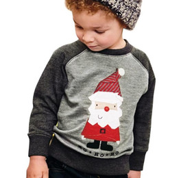 Best Gift For Xmas Australia - Boys Christmas Santa Full Sleeve O-neck T-shirts for 1-5T Boys Xmas suits Best gifts for Christmas