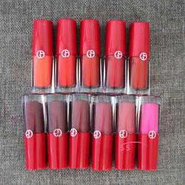 Luxury Lipstick Brands Canada - Top quality !Italy luxury Brand Makeup 16 color GIORGIO Lip Gloss Magnet Second-skin Intense Matte Lipgloss 3.9ml Matte Liquid Lipstick