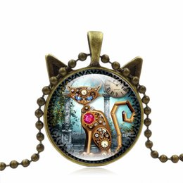Chinese  Vintage Machine Cat Clock Pendant Necklace Animal Time Gem Stone Cat Ear Sweater Chain Gift For Pet Lovers manufacturers