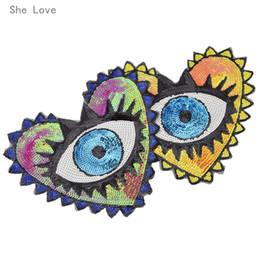 $enCountryForm.capitalKeyWord NZ - garment accessories She Love Large Sequin Heart Evil Eyes Patch No Glue Cartoon Motif Applique Embroidery Garment Accessory