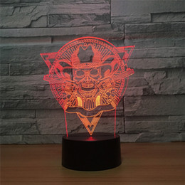 pattern batteries NZ - Wholesale Drop Shipping Special Offer DC 5V USB Powered AA Battery Powered Hot 3D Skull Gun Pattern Illusion Lamp 7 RGB Lights 3D LED Light