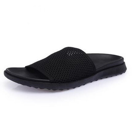 ed0abe56f9275 Summer Men Slippers Shoes 2018 Fashion Mesh Slippers Unisex Beach Sandals  Casual Flat Slip On Flip Flops Free shipping