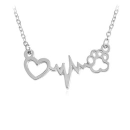 $enCountryForm.capitalKeyWord Australia - Love Heart With Electrocardiogram Dog Paws Foot Necklace Always In My Heart Pendant Dog Cat Animal Lovers Gifts
