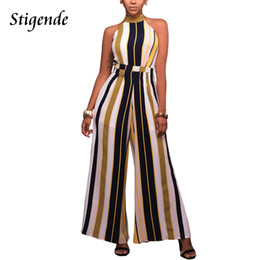 Stigende Ladies Wide Tute Tuta a righe Summer Sleeveless Off Shoulder Halter Tuta Pagliaccetti Sexy Women's Striped Clothing
