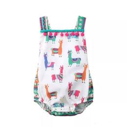0111531dedd Newborn Baby Girls Cute Alpaca Unicorn Print Summer Rompers Infant Fashion  Backless Jumpsuit Kids Cotton Tassel Outfits