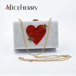 Heart Box Clutch Australia - Acrylic Box Clutches Women Messenger Shoulder Chains Day Clutches Lady Fashion Flap Heart Love Pattern Acrylic Evening Purse Bag