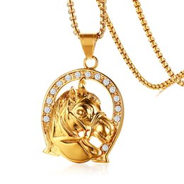 mens gold chain circle NZ - Mens Hip Hop Jewelry Stainless Steel Pendant Necklace Animal Horse Head Shape God Color Circle Pendant Necklaces For Men Free Chain 24""