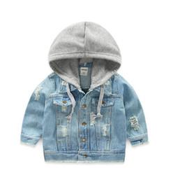 2018 Kids Denim Jacket Boys Jean Coat Clothing Fashion Causal Girls Cardigan Niños prendas de vestir exteriores Cowboy Toddler con capucha 2-10yrs 4 colores en venta