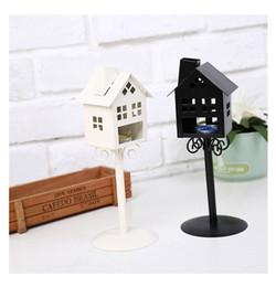 $enCountryForm.capitalKeyWord Australia - High Quality 2 Colors Standing Design Metal Vintage kiosk House Candlestick Wedding Home Decor Candle Holder