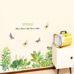 $enCountryForm.capitalKeyWord NZ - Green Plants Grass Butterfly Wall Sticker Spring Quote Wall Mural Poster Wall Border Skirting Line Self-adhesive Wallpaper Decoration Decals