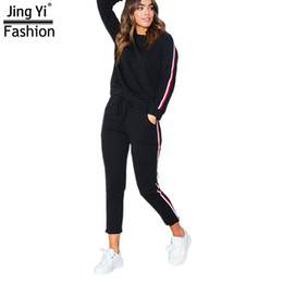 Wholesale 2018 Casual Women Tracksuit Piece Set Both Arms Print Vertical Bar Loose Style Woman Long pants Clothing
