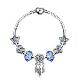 Pandora Silver Plate Bracelets NZ - Charm Bracelet Silver Plated Pandora Bracelets For Women Dreamcatcher Star Bracelet Blue Crystal Beads Diy Jewelry