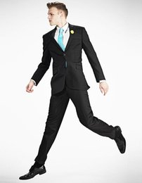 Modern Suits For Men Australia - 2017 Custom Made Notch Lapel Modern Fit Black Suit Business Affairs Wears Best Man Suits For Man Clothes (Jacket+Pant+Tie