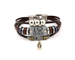 fish jewelry UK - I LOVE JESUS Charm Bracelets Vintage Silver Bronze Fish Pendant Christian Multilayer leather bracelets For Men Women Bangle Jewelry Gifts