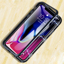 Black tempered glass for iphone online shopping - Luxury Double Side Magnetic Adsorption Flip Case for iPhone Pro XS MAX XR Plus Tempered Glass Back Cover for Samsung S9 S10 Hard Case