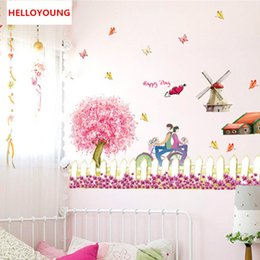 Play Room Wall Stickers Australia - DIY Romantic Cherry Blossom Fence Play Crural Line Sitting Room Waterproof Porch Decorate Bedroom Wall Stickers Mural