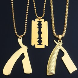 Razor Necklace NZ - Top Quality Razor & BladePendant Necklaces For Men 2018 Hot Hiphop Jewelry Gold Plated Luxury Accessories Gifts