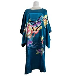 Chinese  New Arrival Lake Blue Chinese Women Silk Rayon Robe Dress Sexy Summer Printed Floral Nightwear Kimono Bath Gown Flowers One Size manufacturers