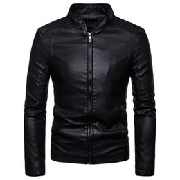 $enCountryForm.capitalKeyWord Australia - Autumn and winter new Korean version of the self-cultivation stand collar jacket jacket men's solid color large size motorcycle PU leather
