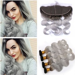 weave 1b ombre grey 2019 - Dark Rooted Silver Grey Ombre Peruvian Human Hair Weaves with Frontal Body Wave Ombre 1B Grey 13x4 Full Lace Frontal Clo