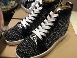Leopard Print Cotton Fabric NZ - NEW luxury Fashion High Top black Rhinestone men loafer shoes leopard print leather Red Bottom Casual Shoes for Male zapatos de hombre