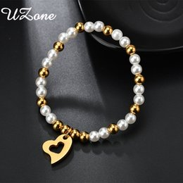 pearl bracelet for men NZ - UZone Fashion Hollow Love Heart Bracelets White Gold Color Pearl Bangle For Men Women Pulseira Feminina