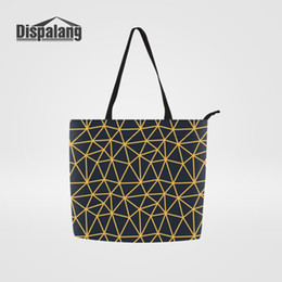 6cd7fb1ad14 Large Capacity Portable Foldable Shopping Bag Customized Street Bags for Ladies  Tote Canvas Geometric Striped Print Shoulder Bag
