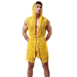 Wholesale sexy man s robes resale online - Men Sexy Fishnet Transparent Hooded Bathrobe Fashion Brand Gay Long Bath Robe Nightgowns