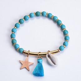 $enCountryForm.capitalKeyWord NZ - Fashion Boho Shell Bracelet Turquoise Tassel Bracelet Popular Charms Bangle Statement Bracelets Girl Gift Adjustable Jewelry H285F