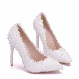 Thick White Wedding Shoes Australia - 2018 New Fashionl white lace Flowers pointed toe shoes for women 11cm heels Elegant wedding shoes thick heel shoes handmade Plus Size Heels