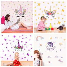 Nursery star wallpaper online shopping - 4styles Diy Unicorn Cartoon Rainbow Wall Sticker Stars rainbow Kids Bedroom Decals Poster Wallpaper Art Stickers FFA663