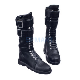 $enCountryForm.capitalKeyWord NZ - Black 1 6 Scale lace Up Buckle Flat Long Boots Shoes for 12 inch Female Action Figure Body
