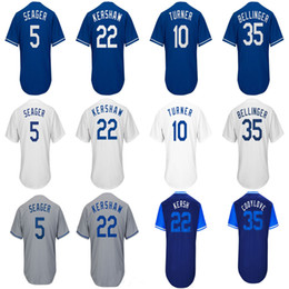 New Hot LA Dodgers  5 Corey Seager  10 Justin Turner  22 Clayton Kershaw   35 Cody Bellinger White Grey Blue Weekend Jerseys Drop Shipping c8b505974