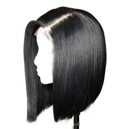 lace front short dark brown bob UK - Brazilian hair Lace Front wigs Short Bob Full Lace Human Hair Wigs Pre Plucked Natural Hairline around babyhair woman
