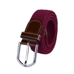 Woven Leather Belt UK - Universal Braided Stretch Belt Casual Fabric Woven Weave Elastic Belt for Men and Women with PU Leather Loop and End Tip
