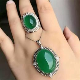 88f559f4cff4 Joyas KJJEAXCMY 925 anillo de médula de jade verde natural con incrustaciones  de plata pura + conjunto de 3 piezas con planta de curva de diamante