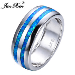 $enCountryForm.capitalKeyWord NZ - JUNXIN Fashion Women Blue Fire Opal Ring High Quality 925 Sterling Silver Filled Jewelry Promise Engagement Rings For Women S18101608