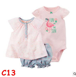 toddlers girls clothes 2019 - Girls 3pcs Clothes Outfit Sets 2018 Summer Newborn Baby Cotton T shirt Tops Shorts Girls Striped Rompers Overall Infant
