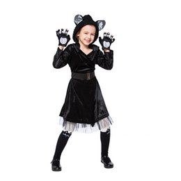 Kid Carnival Stage Show Black Cat Cosplay Uniform Halloween Costume da pantera Faux Fur Outfit Fancy Dress per bambini